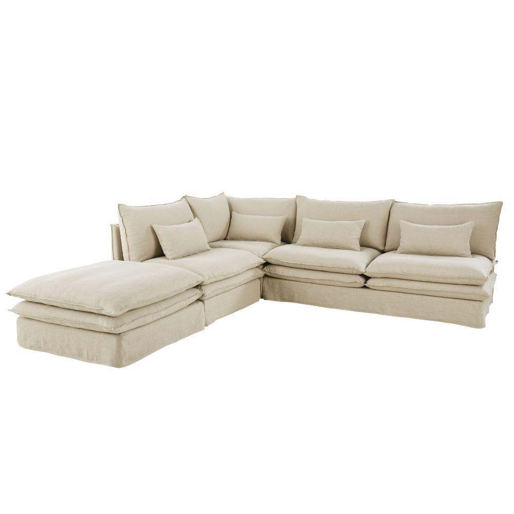 Pouf per divano in lino Pompei | Maisons du Monde