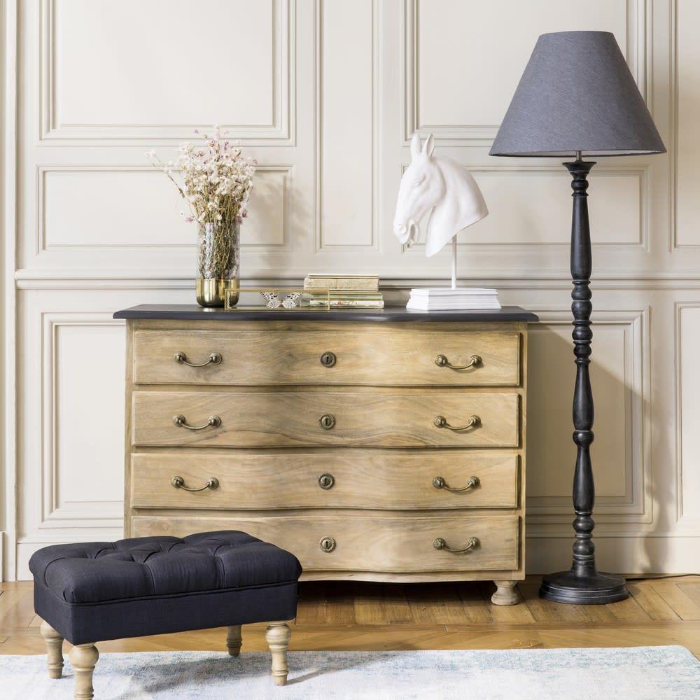 pouf repose pieds capitonn noir aristide maisons du monde. Black Bedroom Furniture Sets. Home Design Ideas