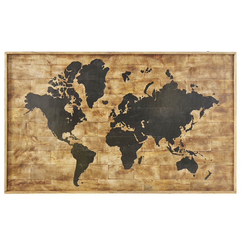 Printed World Map Mango Wood Wall Art 140x87 Koumbia | Maisons du Monde