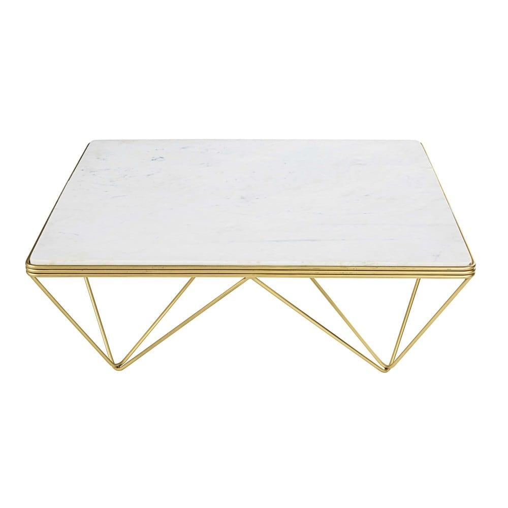 Quadratischer Couchtisch Aus Marmor Und Goldfarbenem Metall Gatsby
