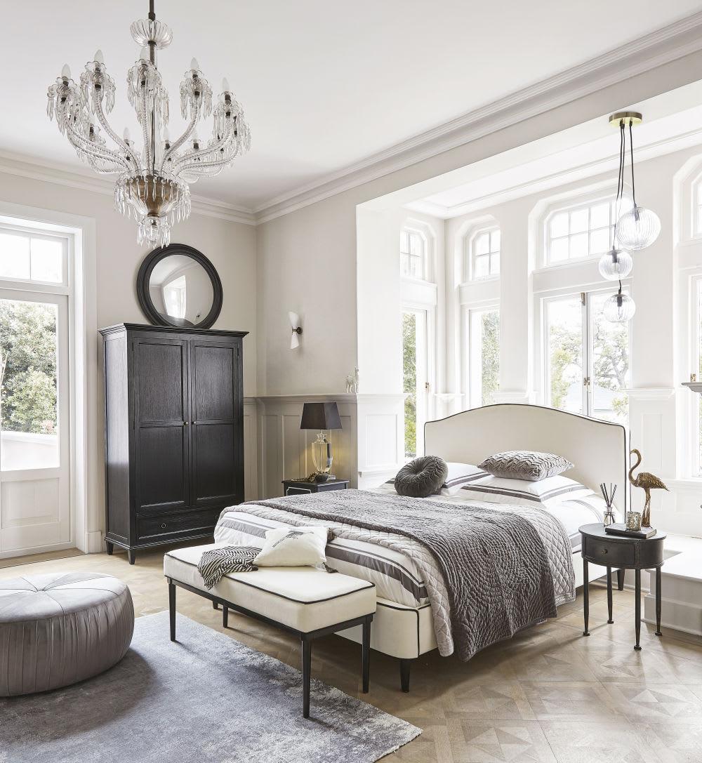 Quilt aus grauer Baumwolle mit Samt-Effekt und Mustern 240x260