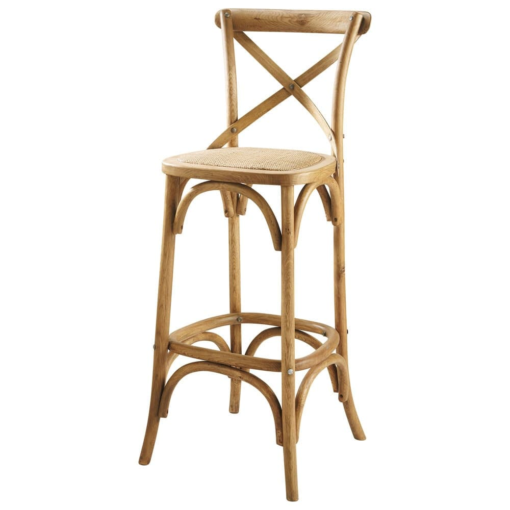 Rattan And Oak Bar Chair Tradition Maisons Du Monde