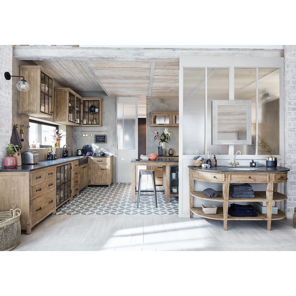 Recycled Pine And Anthracite Blue Stone Centre Island Copenhague Kitchen