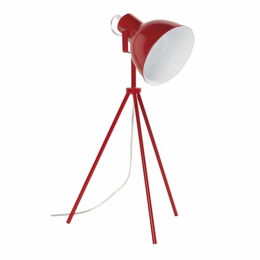 Malle Bar Maison Du Monde red metal tripod lamp