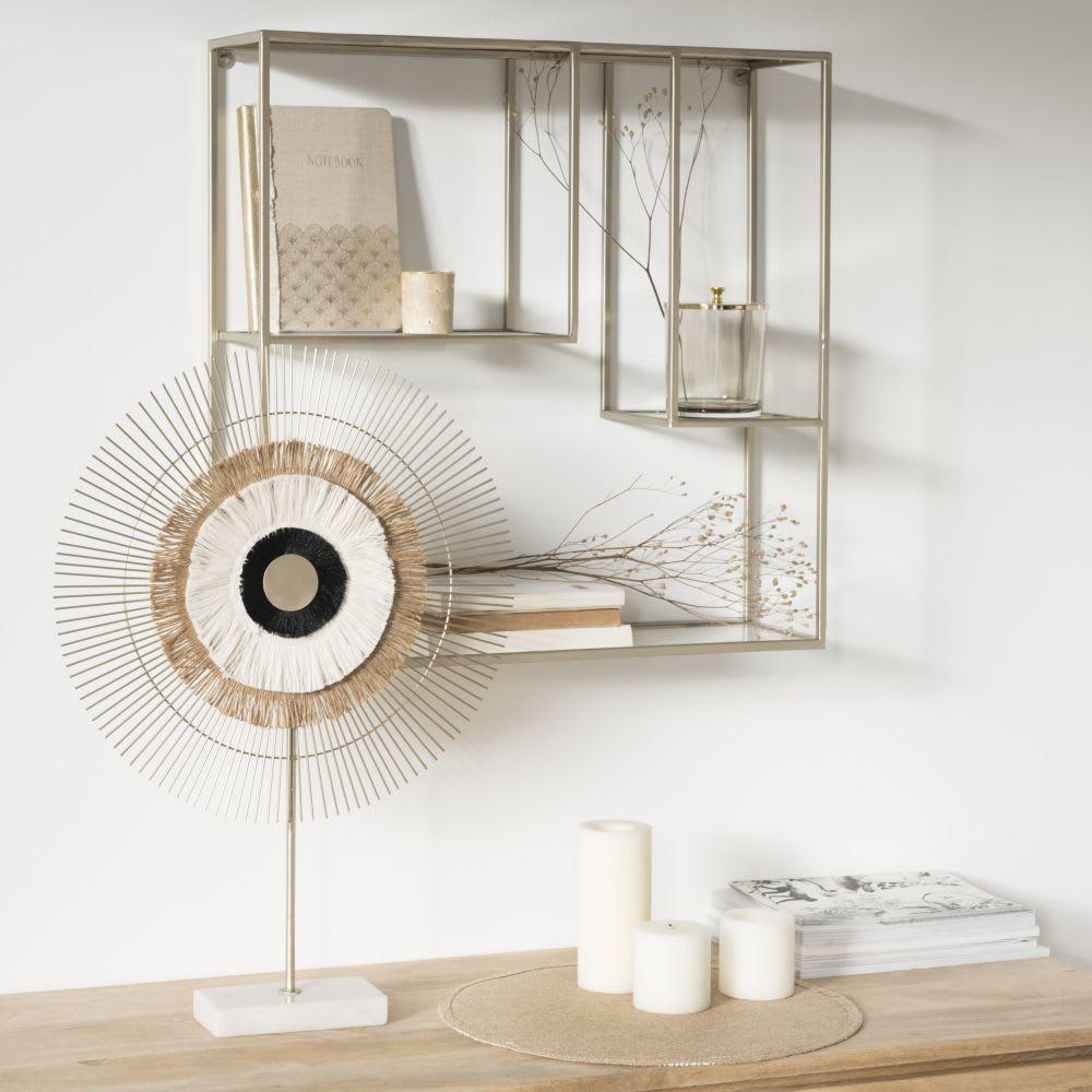 regal aus goldfarbenem metall und glas delio maisons du. Black Bedroom Furniture Sets. Home Design Ideas