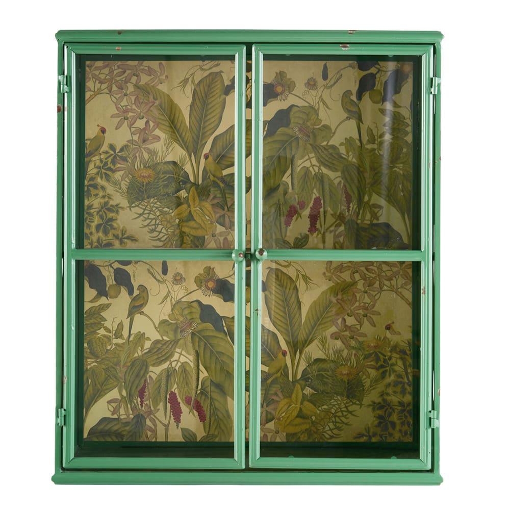 regal aus gr nem metall mit pflanzendruck auf r ckwand. Black Bedroom Furniture Sets. Home Design Ideas