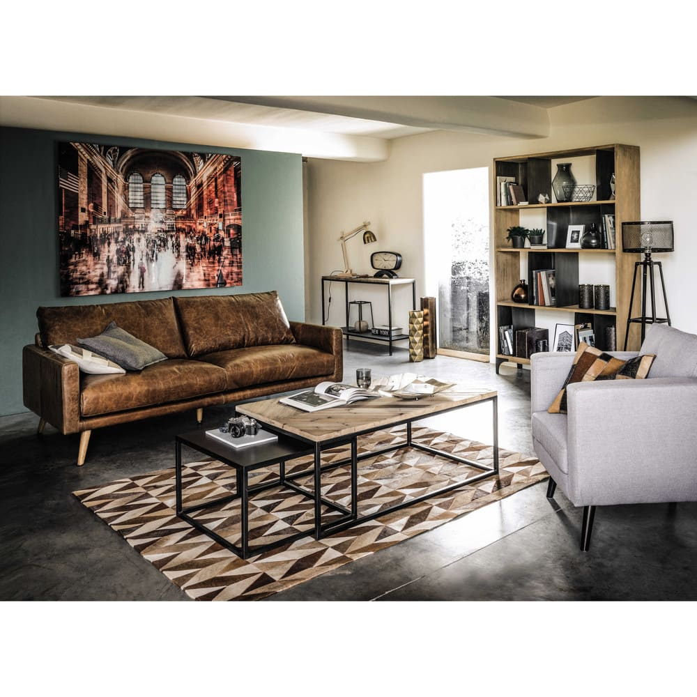 regal aus massivem mangoholz und metall metropolis. Black Bedroom Furniture Sets. Home Design Ideas