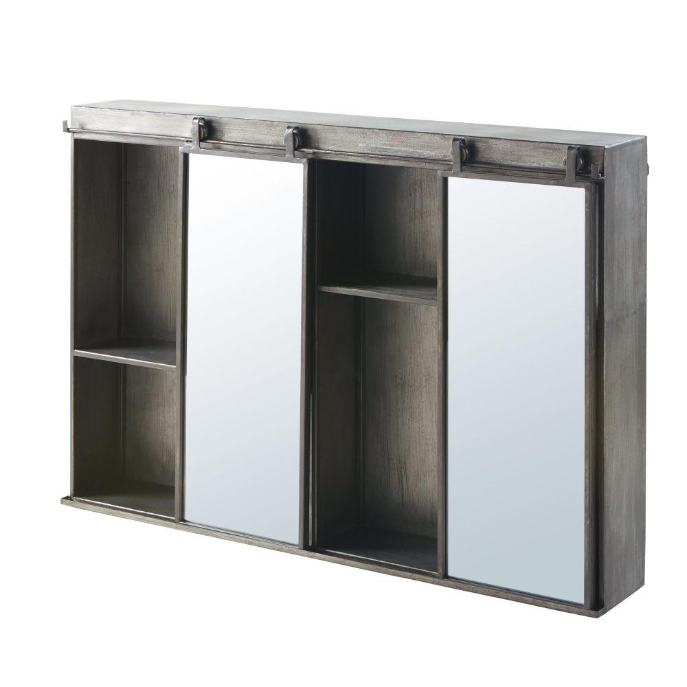 regal aus metall in antikoptik mit verschiebbaren spiegeln. Black Bedroom Furniture Sets. Home Design Ideas