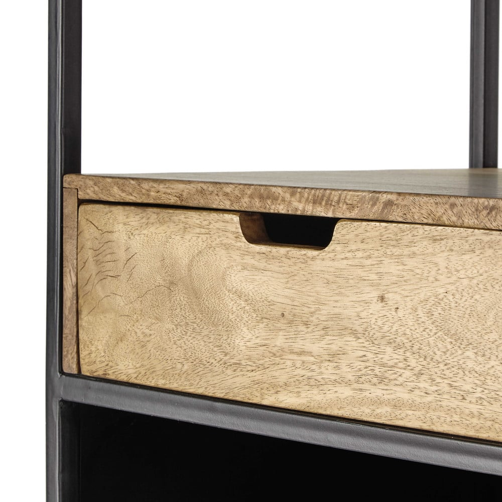regal aus metall und mangoholz grau orange arty maisons. Black Bedroom Furniture Sets. Home Design Ideas