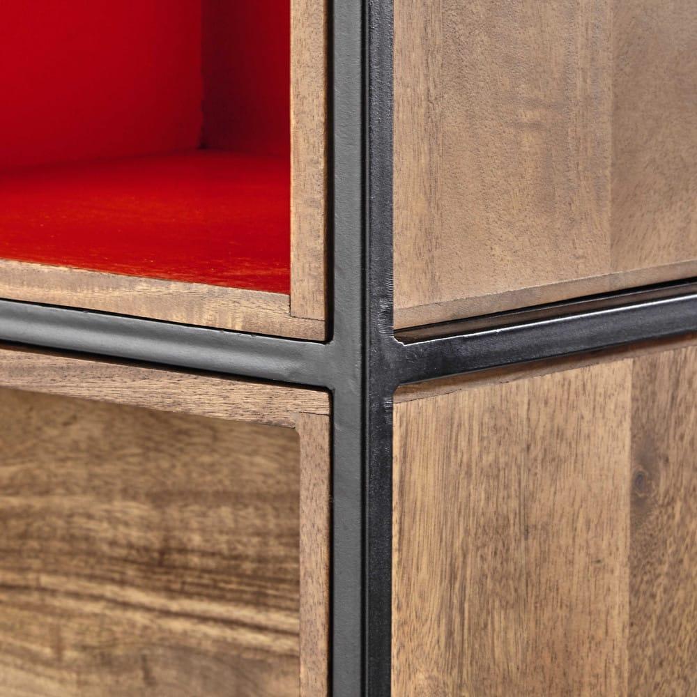 regal aus metall und mangoholz grau orange arty maisons du monde. Black Bedroom Furniture Sets. Home Design Ideas