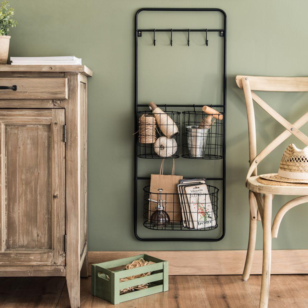 regal aus schwarzem metall mit 3 k rben aden maisons du. Black Bedroom Furniture Sets. Home Design Ideas