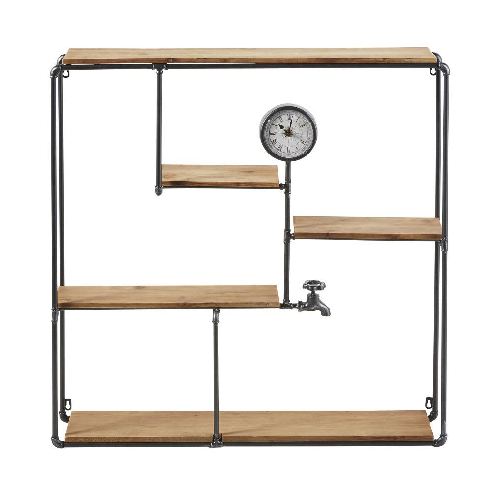 regal aus schwarzem metall und tannenholz mit uhr franklin. Black Bedroom Furniture Sets. Home Design Ideas