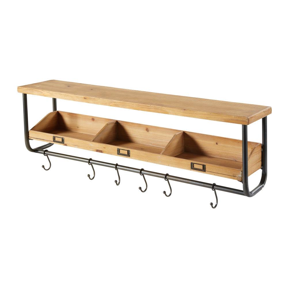 regal aus tannenholz und schwarzem metall mit haken bergen. Black Bedroom Furniture Sets. Home Design Ideas