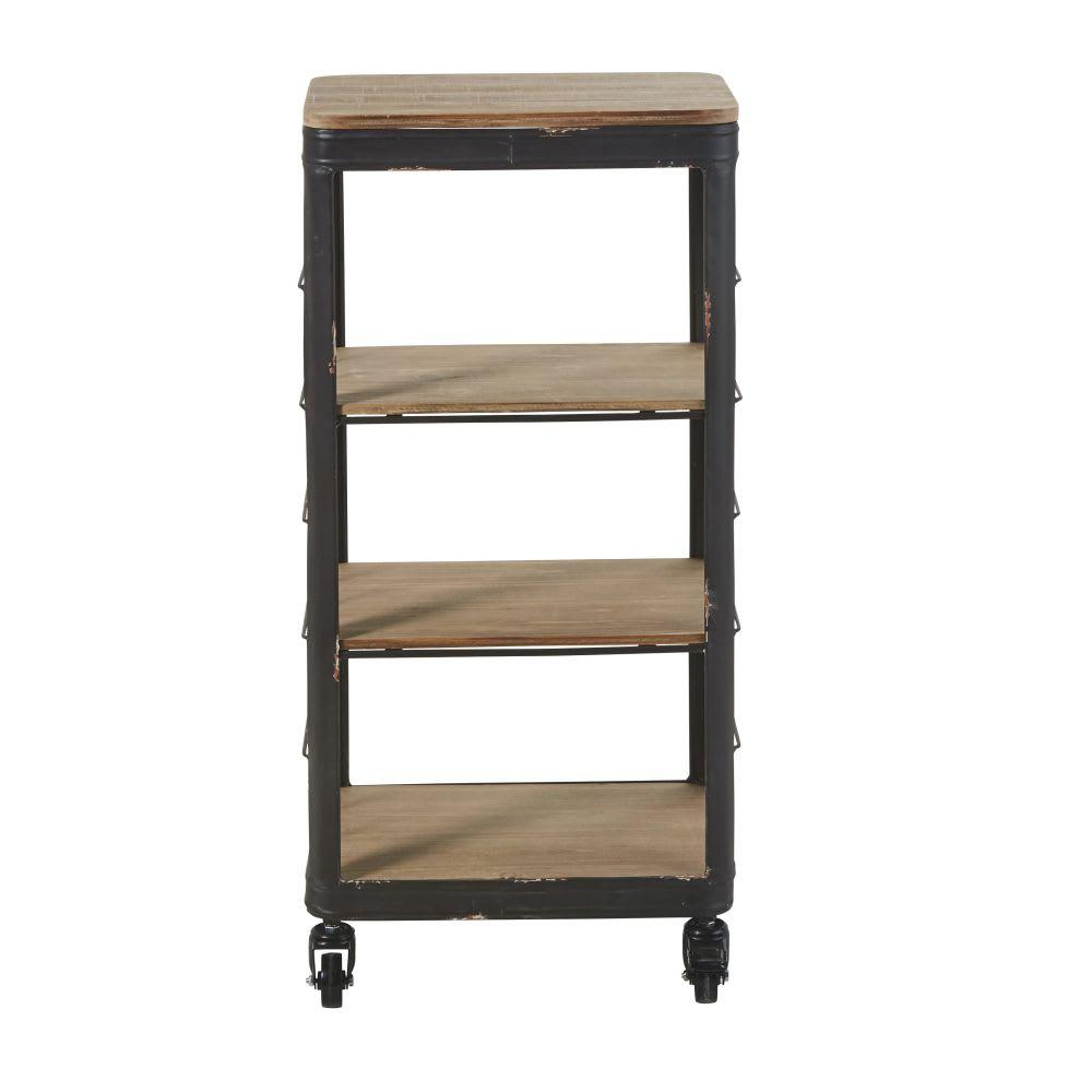 regal aus tannenholz und schwarzem metall mit rollen. Black Bedroom Furniture Sets. Home Design Ideas