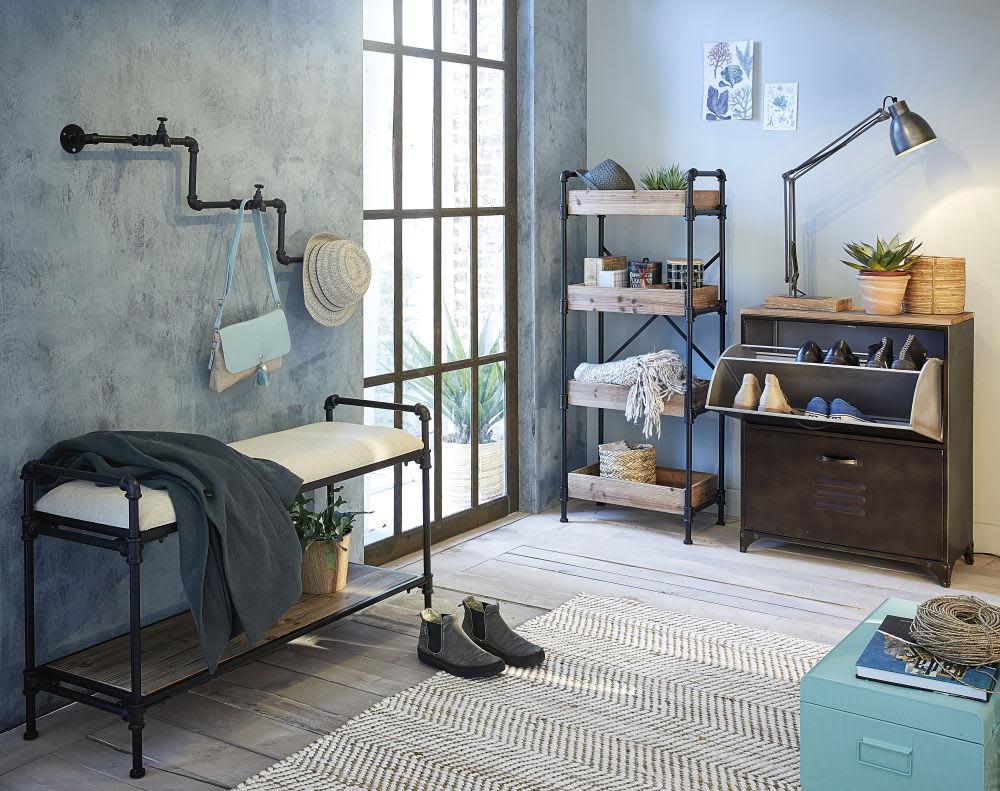 regal im industrial stil aus schwarzem metall wayne. Black Bedroom Furniture Sets. Home Design Ideas