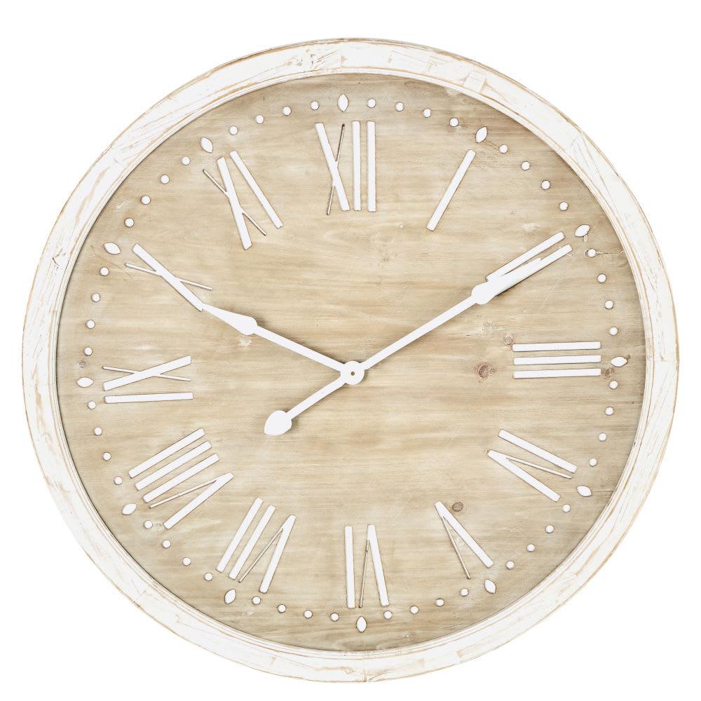 Relógio De Madeira De Abeto Branqueado Diâmetro 97