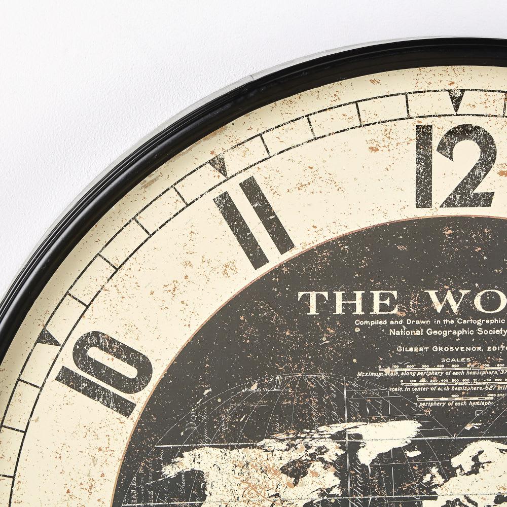 51b914c7 Reloj con mapamundi de metal negro D.96 Atlas | Maisons du Monde