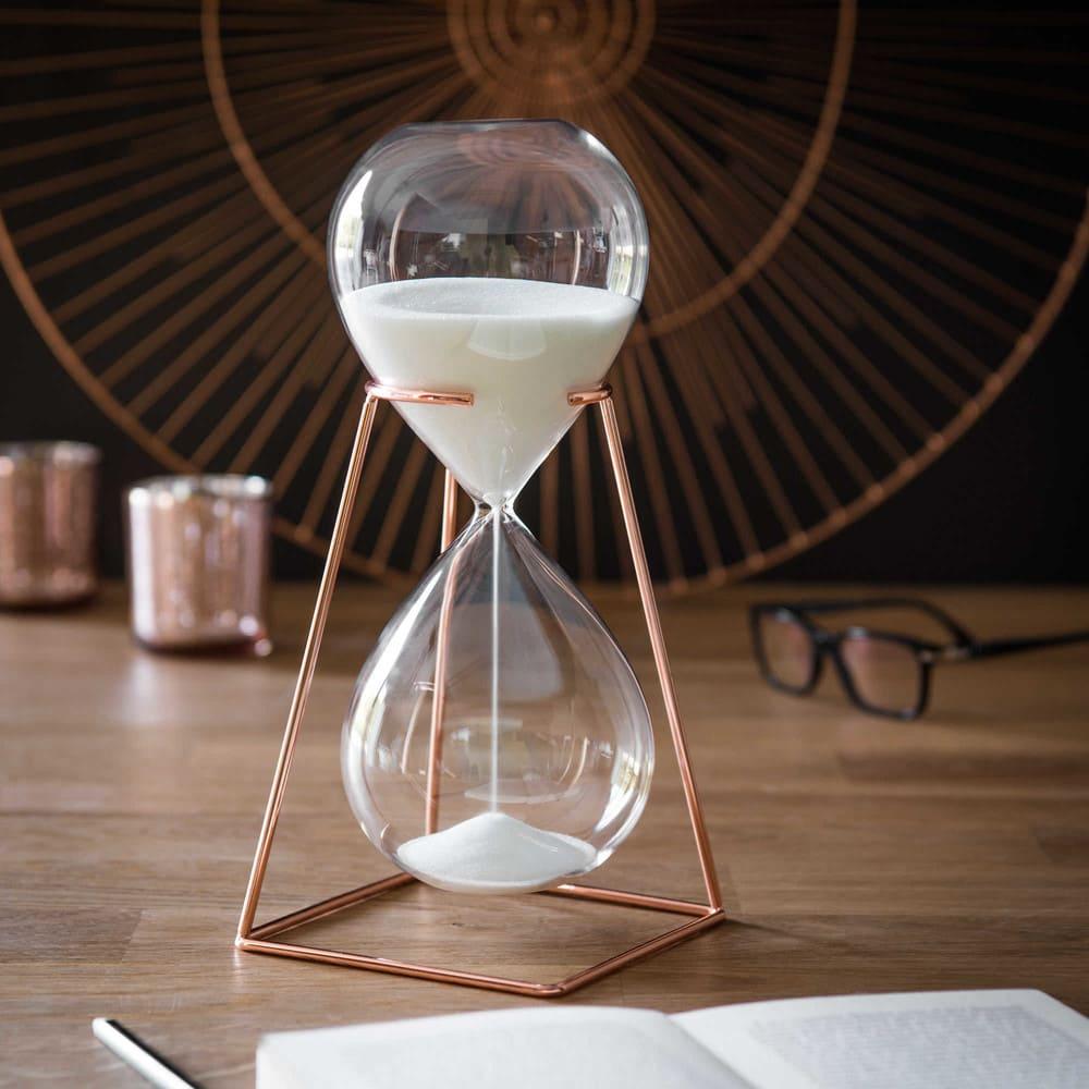 Reloj De Arena De Cristal Con Soporte De Metal H26 Cm Copper