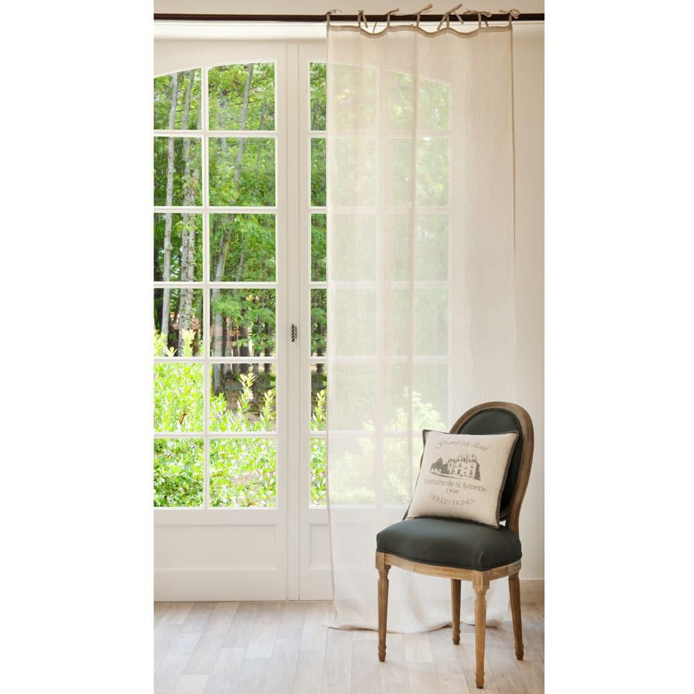 rideau nouettes en lin beige 105x300 maisons du monde. Black Bedroom Furniture Sets. Home Design Ideas