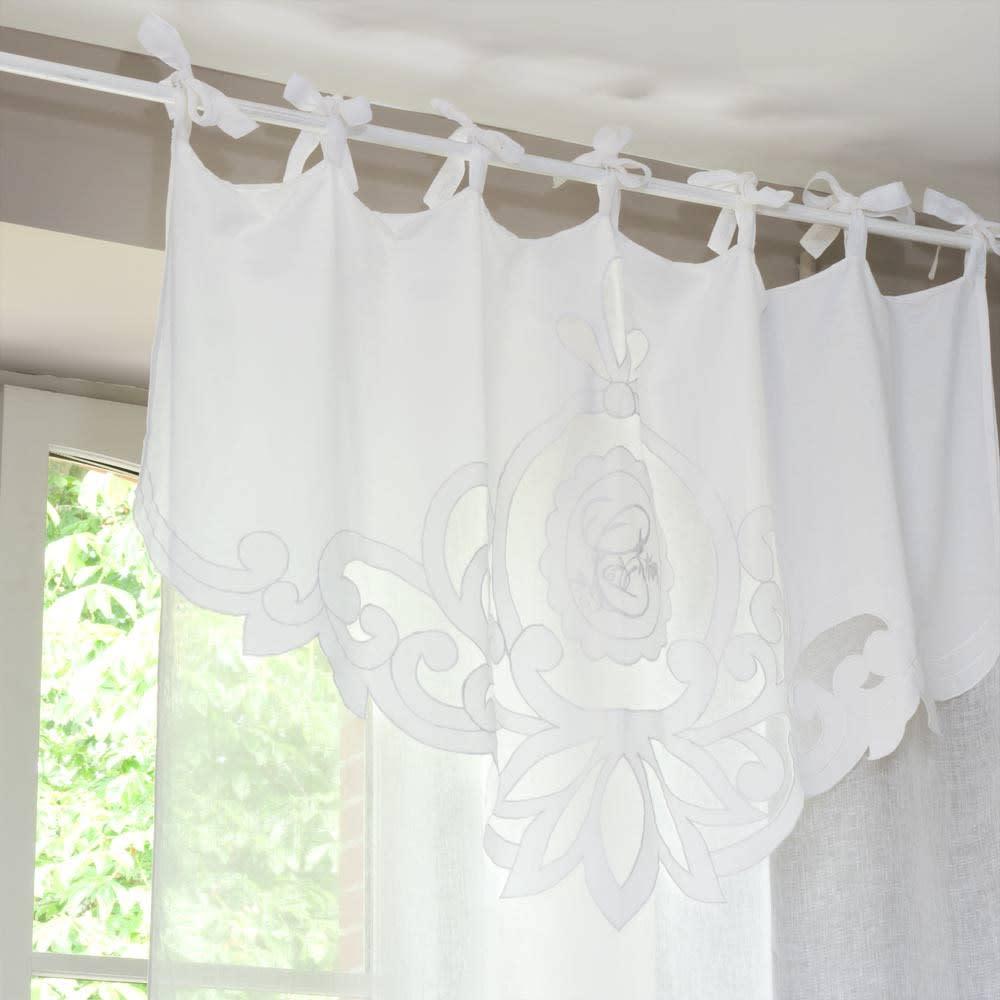 rideau nouettes en lin blanc l 39 unit 140x300 romance. Black Bedroom Furniture Sets. Home Design Ideas