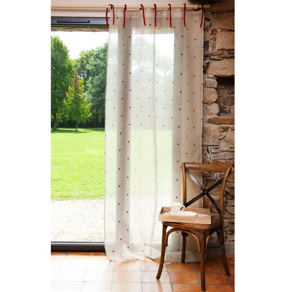 Rideau à nouettes en lin écru et rouge 105 x 250 cm CŒUR | Maisons ...
