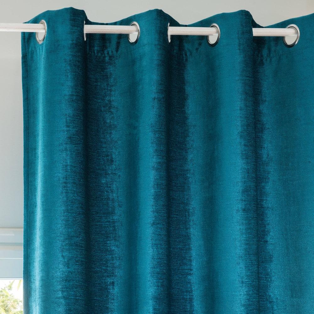 Rideau à œillets bleu canard 130x300 Vintage Velvet | Maisons du Monde