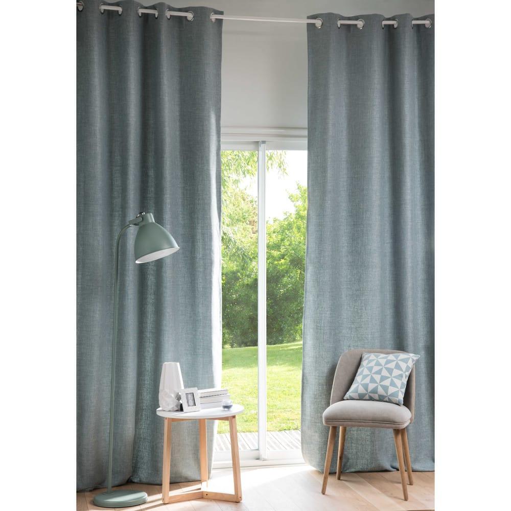rideau illets bleu gris l 39 unit 130x300 andy. Black Bedroom Furniture Sets. Home Design Ideas
