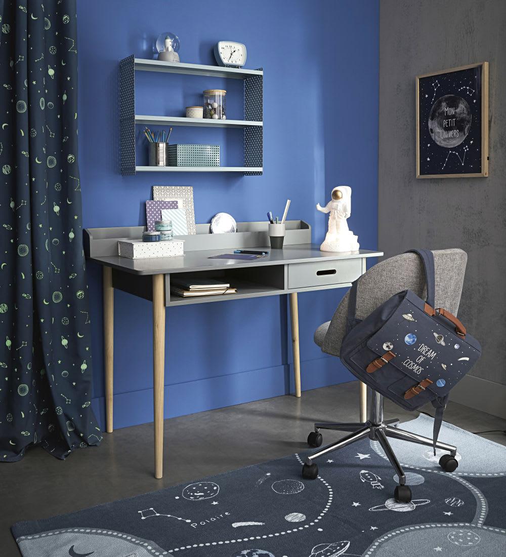 rideau illets bleu marine imprim l 39 unit 110x250. Black Bedroom Furniture Sets. Home Design Ideas