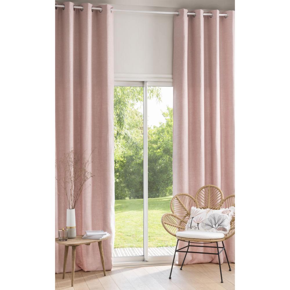 rideau illets en coton tiss jacquard rose poudr l. Black Bedroom Furniture Sets. Home Design Ideas
