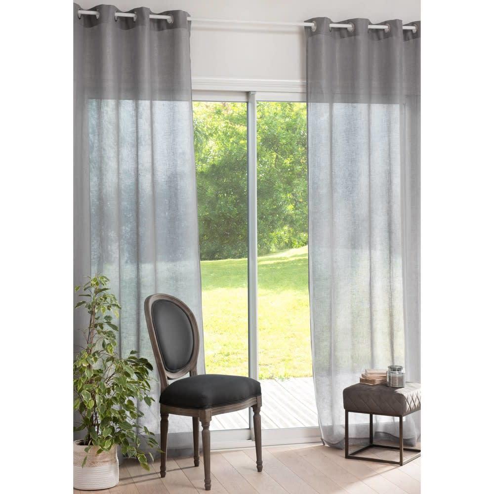 rideau illets en lin gris paillet 140x250 maisons du. Black Bedroom Furniture Sets. Home Design Ideas