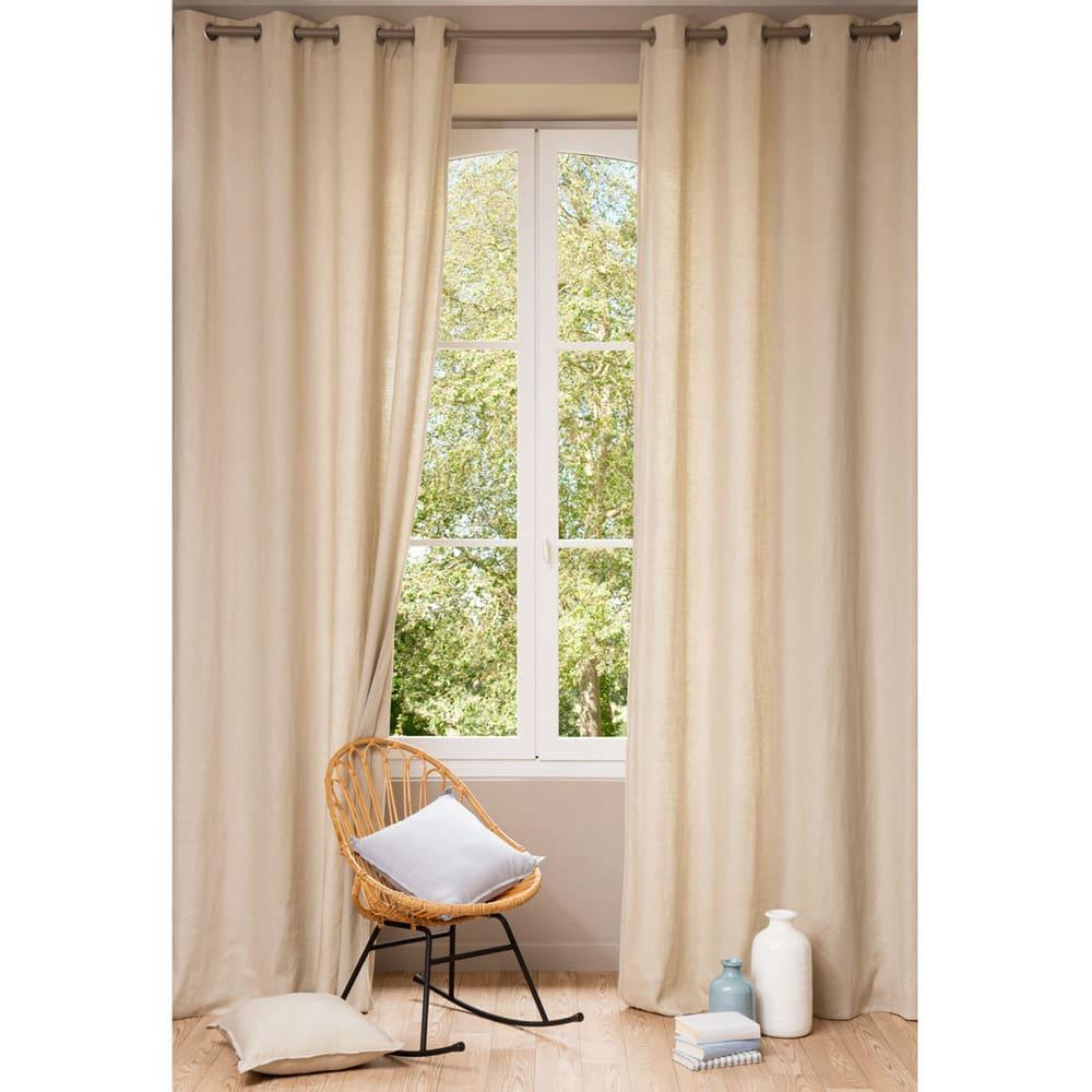 rideau illets en lin lav beige l 39 unit 140x300. Black Bedroom Furniture Sets. Home Design Ideas