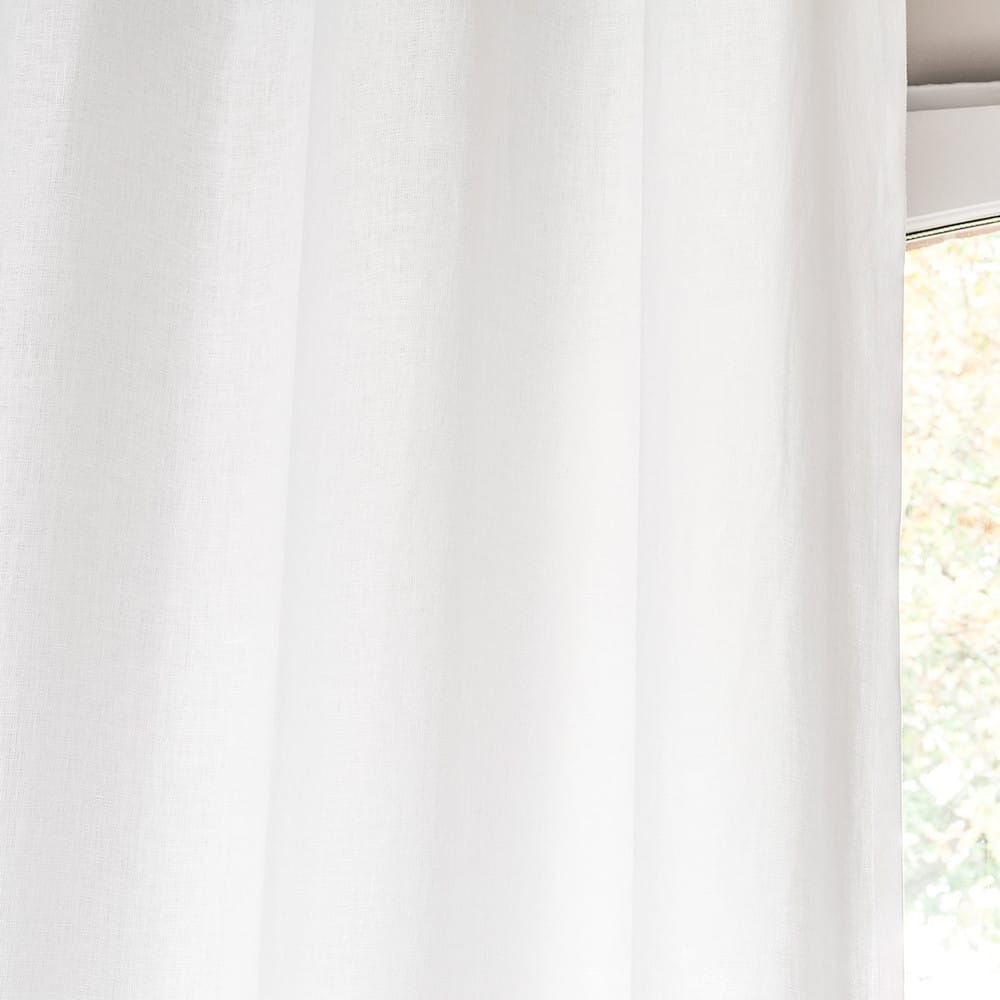 rideau illets en lin lav blanc 130x300 maisons du monde. Black Bedroom Furniture Sets. Home Design Ideas