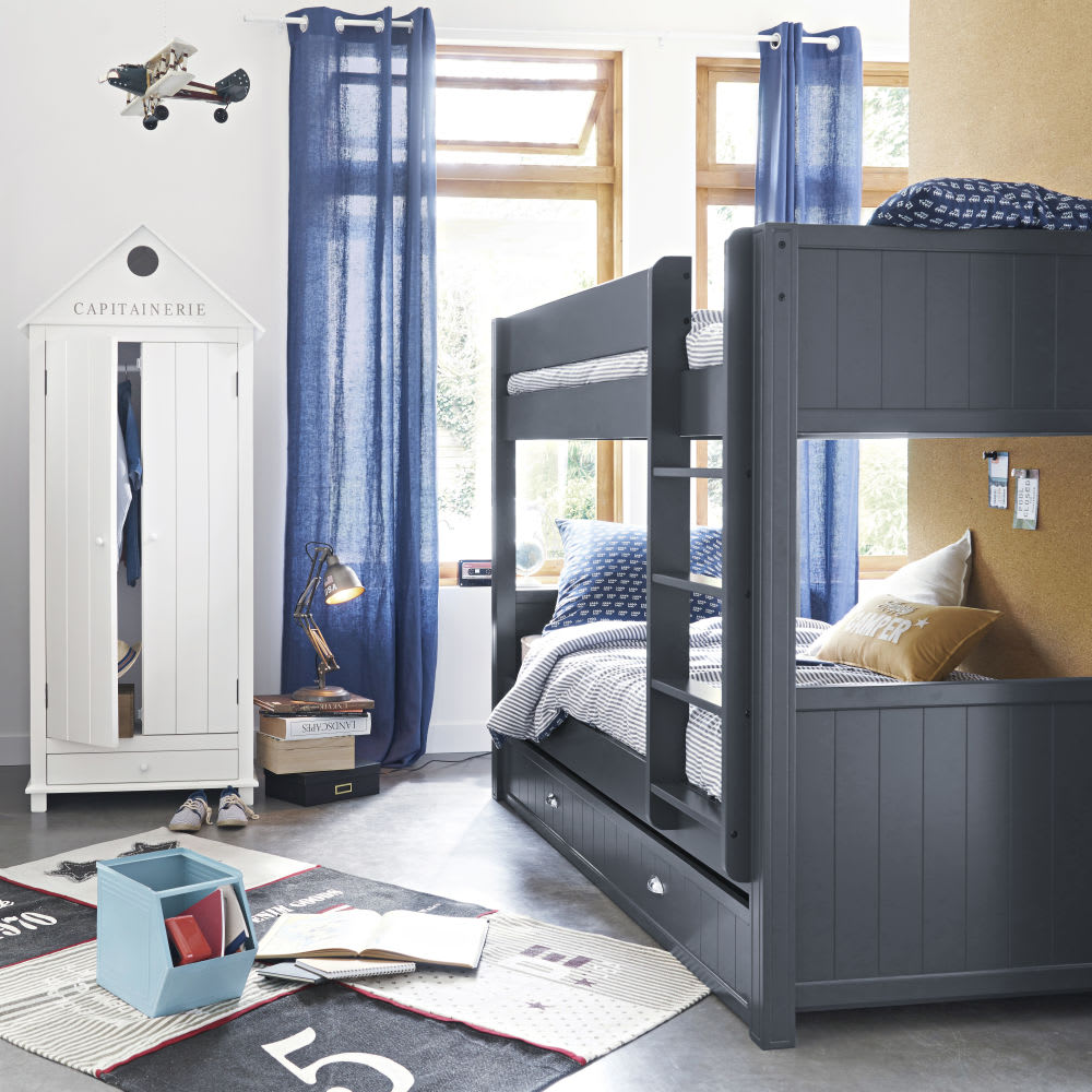 rideau illets en lin lav bleu marine 130x300 maisons. Black Bedroom Furniture Sets. Home Design Ideas