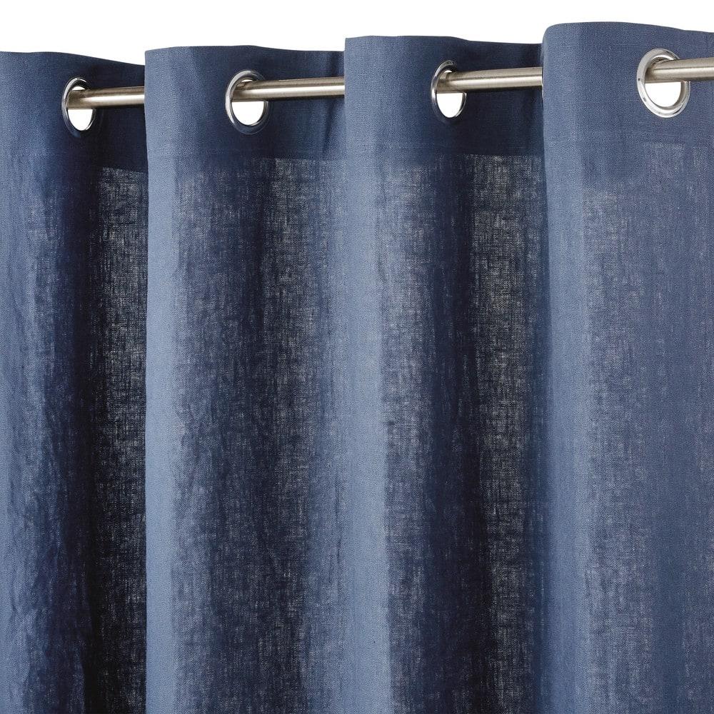 rideau illets en lin lav bleu marine l 39 unit 130x300. Black Bedroom Furniture Sets. Home Design Ideas