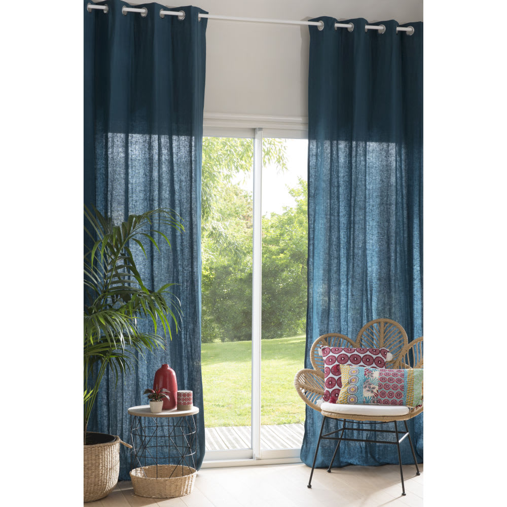 rideau illets en lin lav bleu paon l 39 unit 130x300. Black Bedroom Furniture Sets. Home Design Ideas