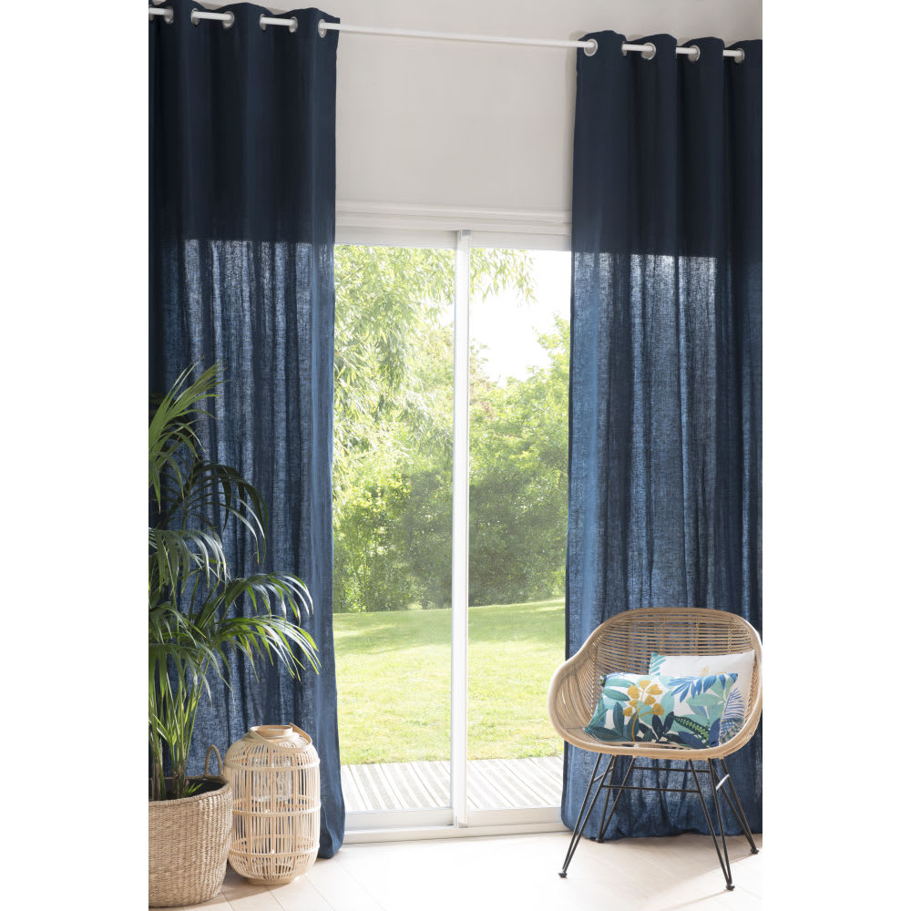 rideau illets en lin lav bleu saphir l 39 unit 130x300. Black Bedroom Furniture Sets. Home Design Ideas