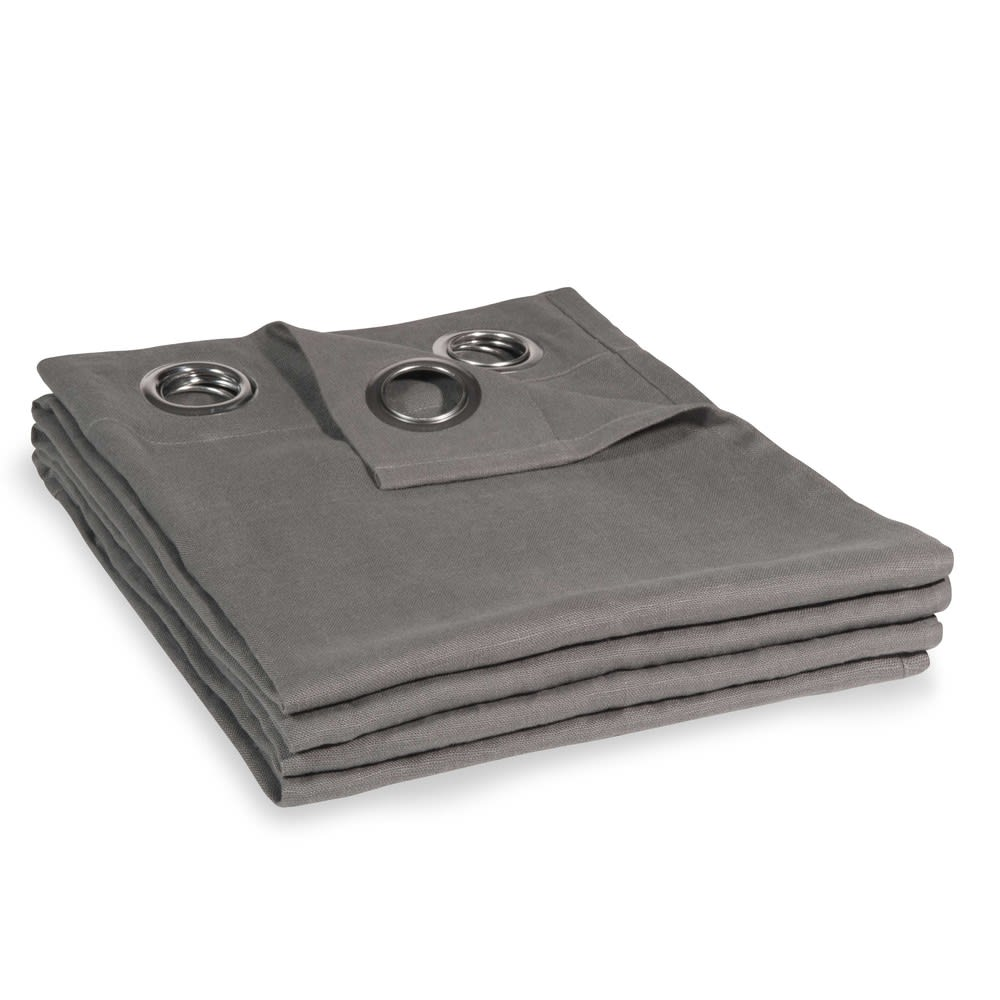 rideau illets en lin lav gris 130x300 maisons du monde. Black Bedroom Furniture Sets. Home Design Ideas
