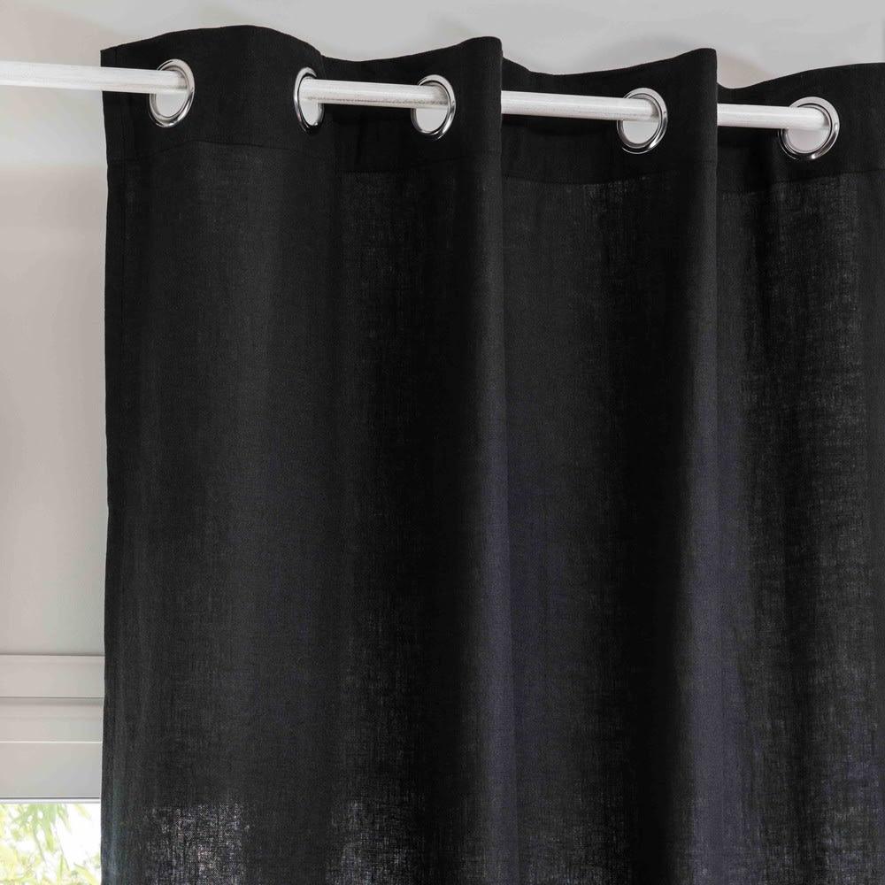 rideau illets en lin lav gris charbon l 39 unit. Black Bedroom Furniture Sets. Home Design Ideas