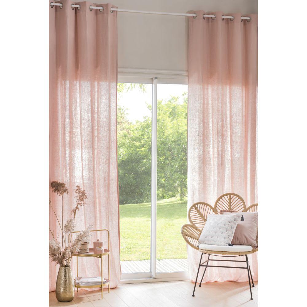 Rideau à œillets en lin lavé rose poudré à l\'unité 130x300 | Maisons ...