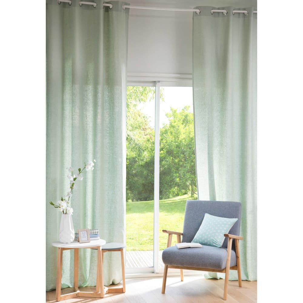 rideau oeillets en lin lav vert clair l 39 unit 130x300. Black Bedroom Furniture Sets. Home Design Ideas