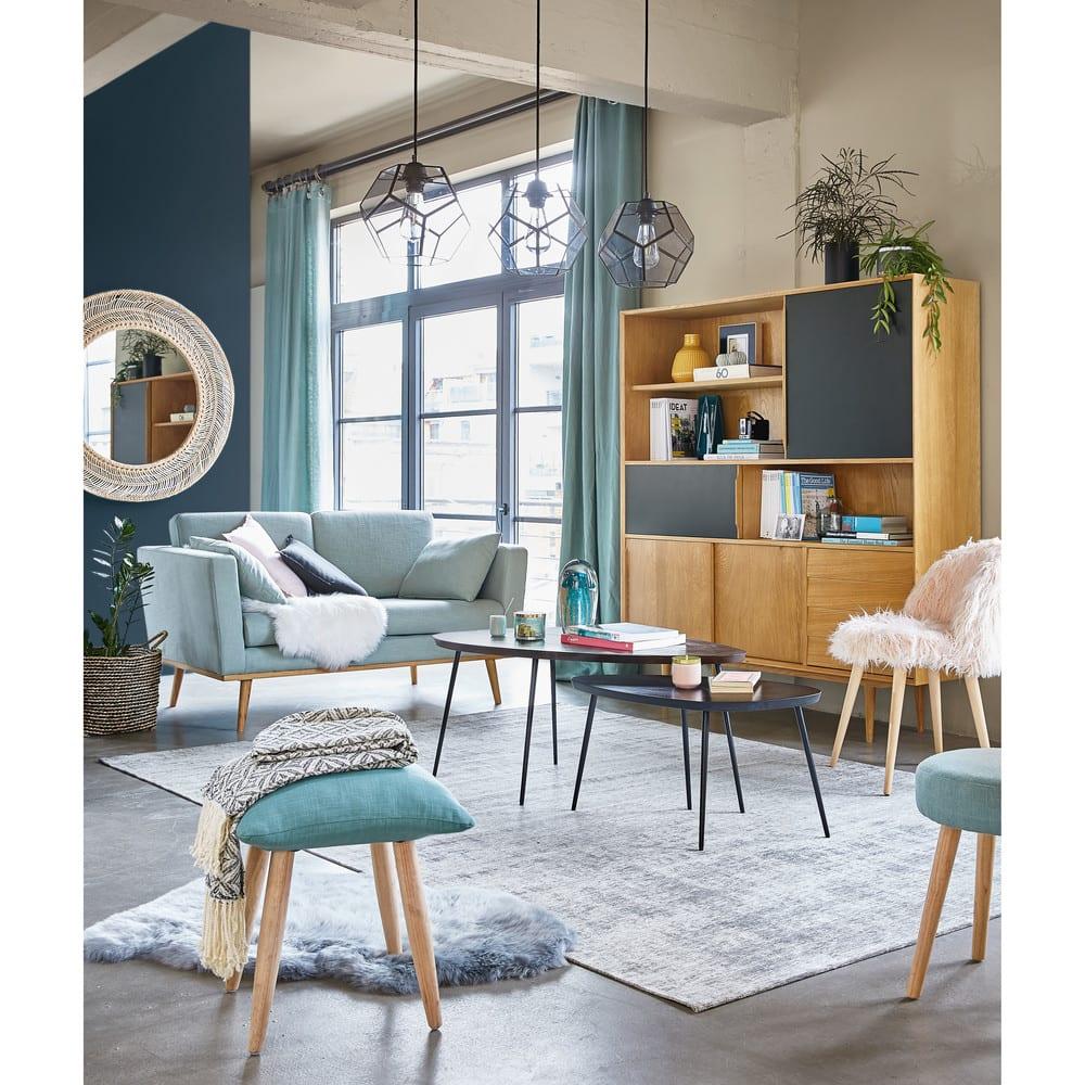 rideau illets en lin lav vert de gris l 39 unit. Black Bedroom Furniture Sets. Home Design Ideas