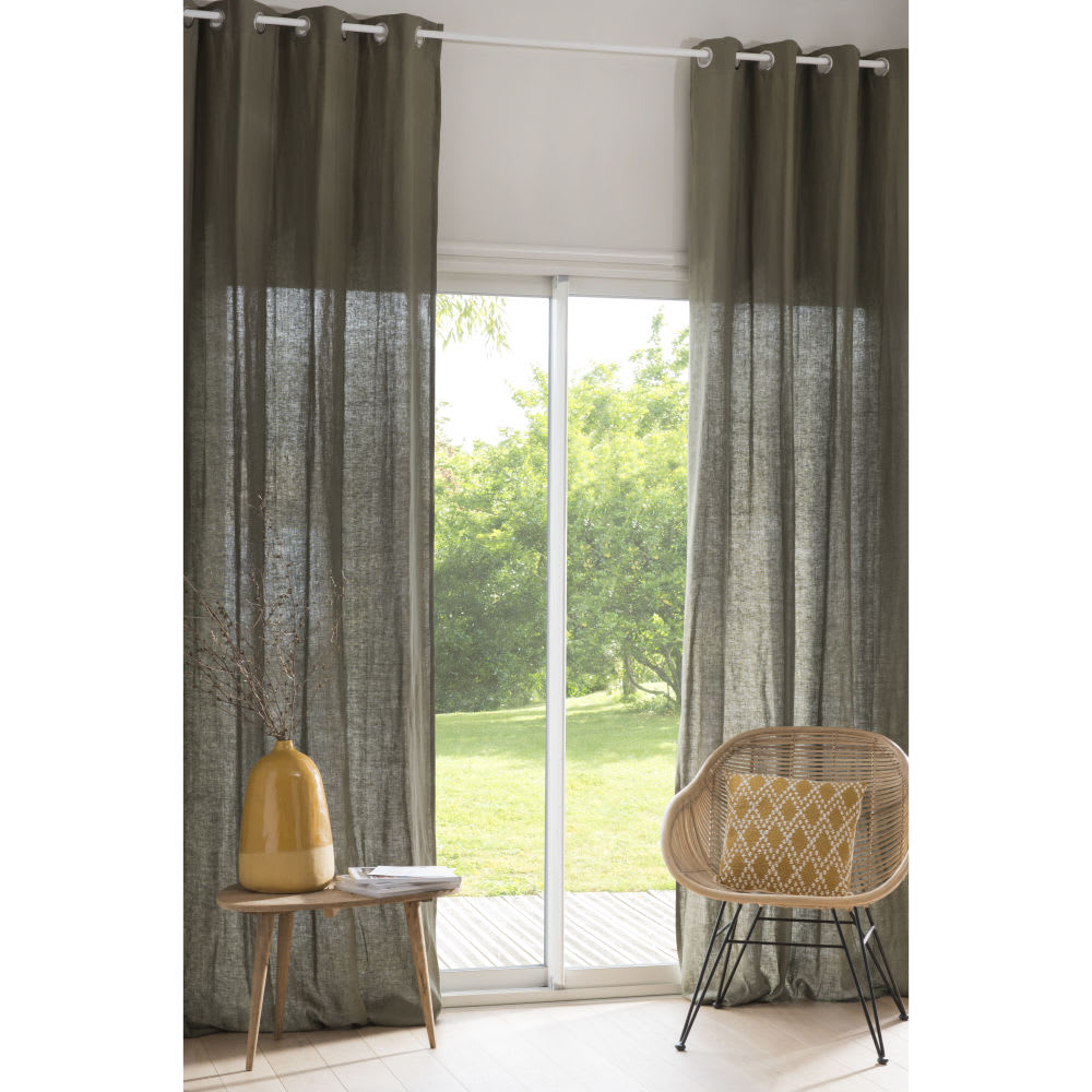 rideau illets en lin lav vert kaki l 39 unit 130x300. Black Bedroom Furniture Sets. Home Design Ideas