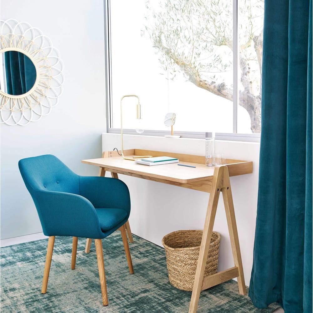 rideau illets en velours bleu canard l 39 unit 140x300. Black Bedroom Furniture Sets. Home Design Ideas