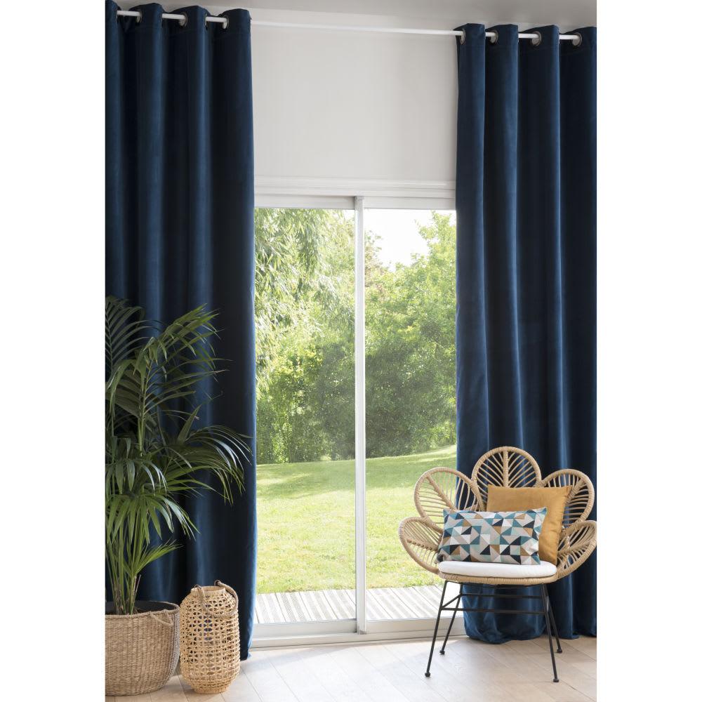 rideau illets en velours bleu marine l 39 unit 140x300. Black Bedroom Furniture Sets. Home Design Ideas