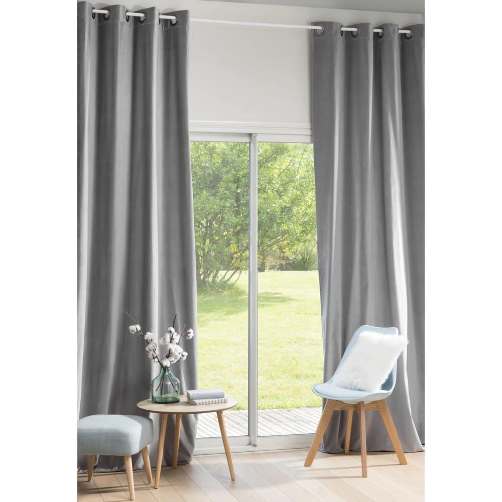 Rideau A Oeillet : rideau illets en velours gris 140x300 maisons du monde ~ Dallasstarsshop.com Idées de Décoration
