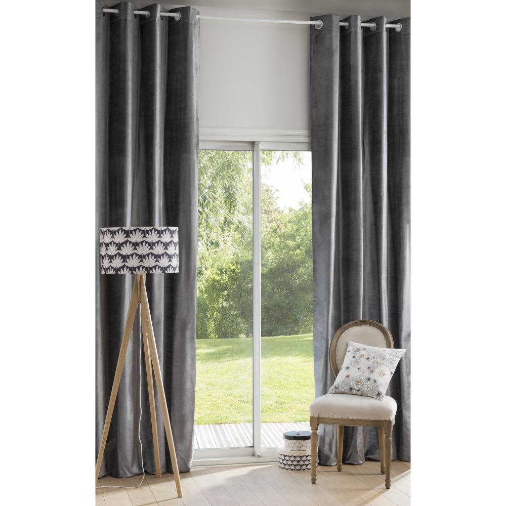 rideau illets en velours gris anthracite l 39 unit. Black Bedroom Furniture Sets. Home Design Ideas
