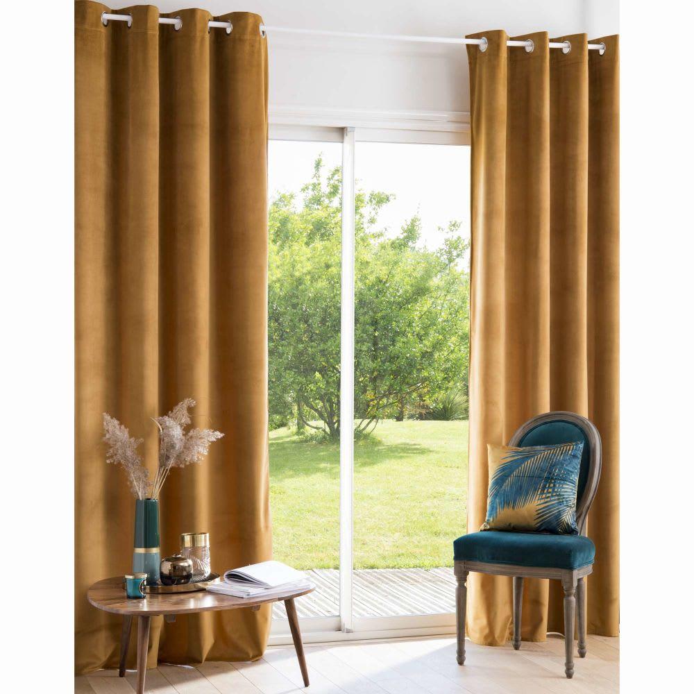 rideau illets en velours jaune moutarde 140x250. Black Bedroom Furniture Sets. Home Design Ideas