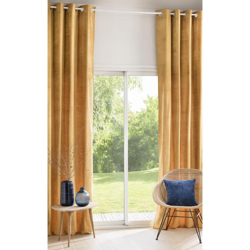 rideau illets en velours jaune moutarde l 39 unit. Black Bedroom Furniture Sets. Home Design Ideas