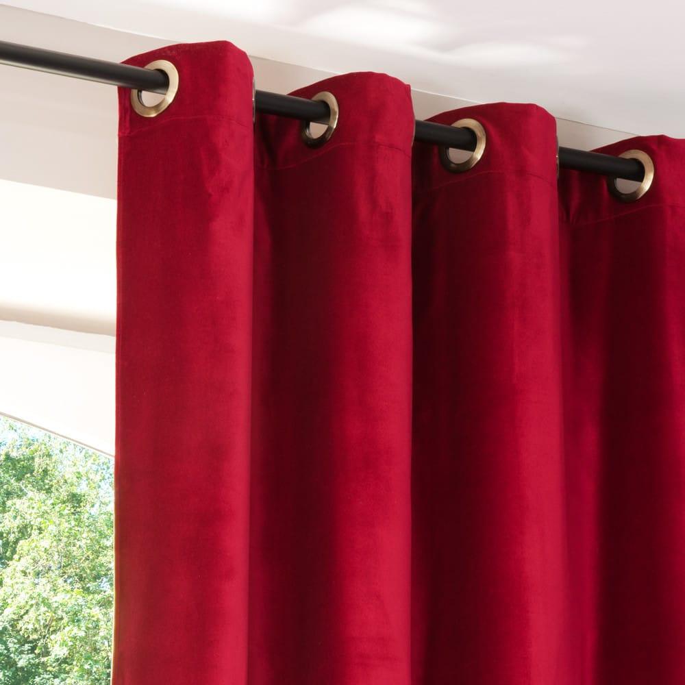 rideau illets en velours rouge et lin beige 140x300. Black Bedroom Furniture Sets. Home Design Ideas