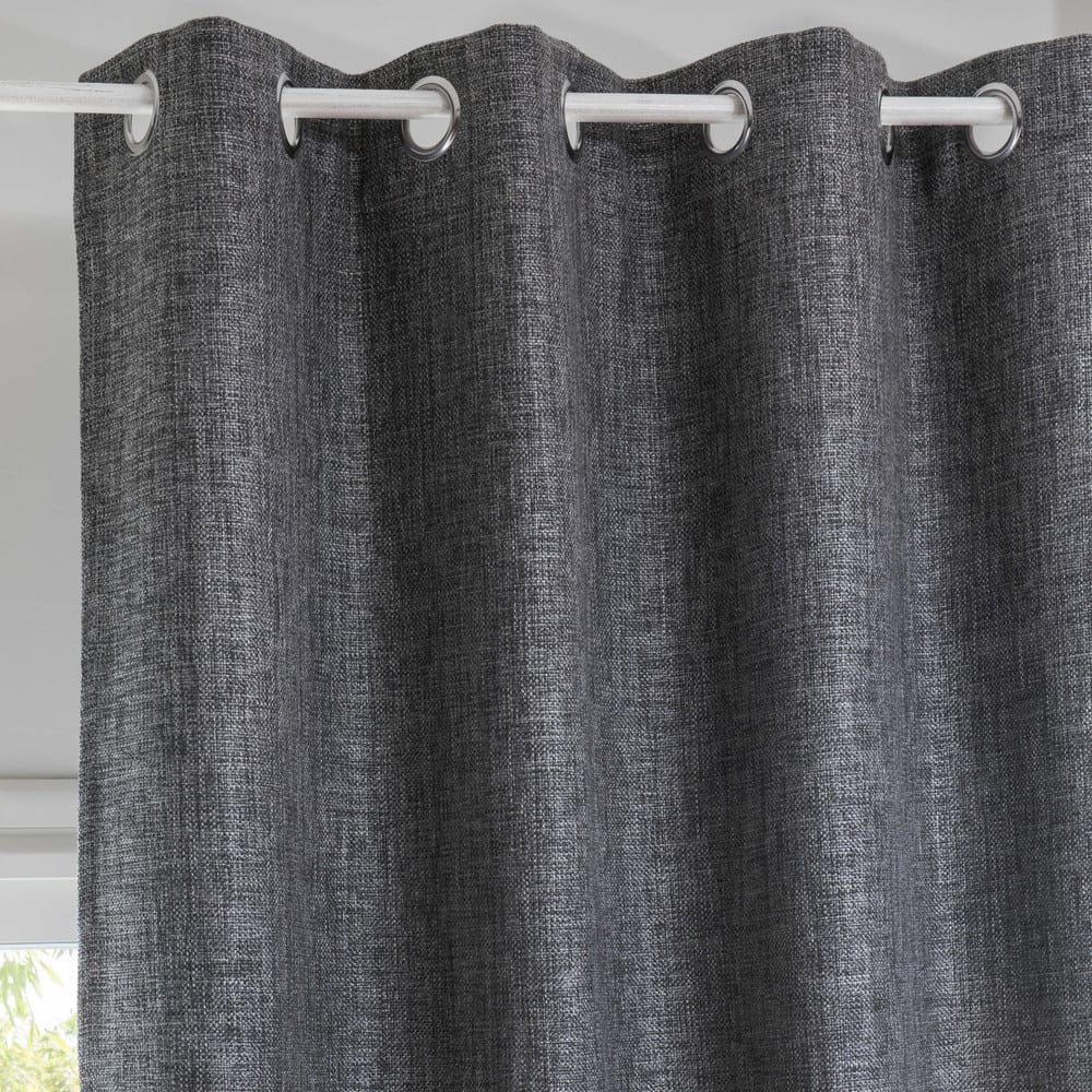 rideau illets gris anthracite 130x300cm andy maisons. Black Bedroom Furniture Sets. Home Design Ideas
